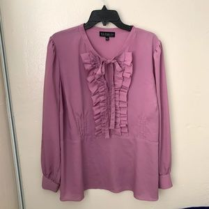 Eloquii  Blouse Rose Pink Ruffled Front Tie Neck